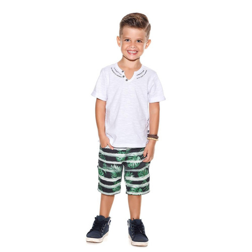 conjunto planet kids camisa/short moments branco/verde 4940