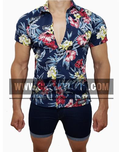 conjunto playero camisa y bermuda jeans hombre casual