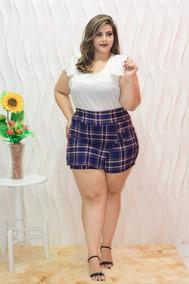 b1f080827 Conjunto Plus Size Blusa Short Saia Xadrez Roupas Feminina