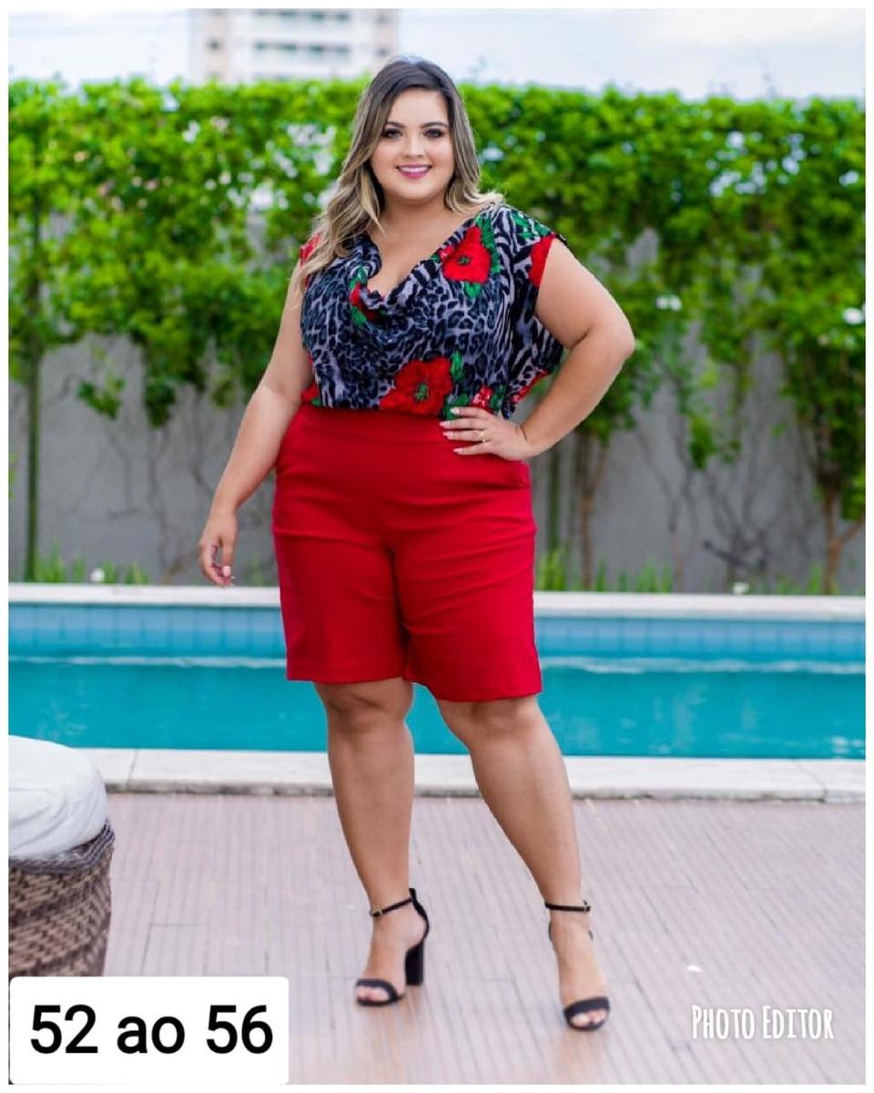 4169544ff0c4 conjunto plus size estampado blusa + short roupas femininas. Carregando  zoom.