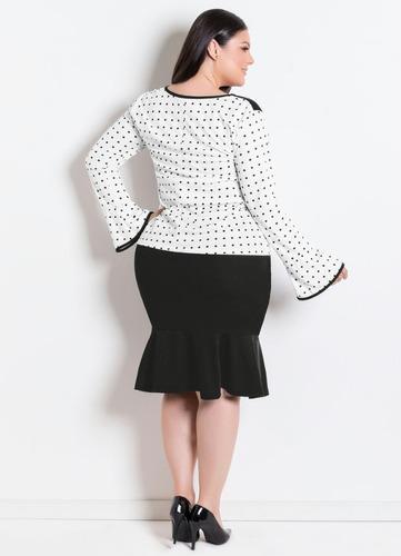 conjunto plus size moda evangélica de festa saia e blusa