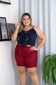 a878a925f Conjunto Plus Size Short Blusa Estampada Roupa Moda Feminina