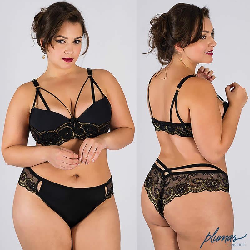 1005b2a62 conjunto plus size strappy preto com bojo - lingerie de luxo. Carregando  zoom.