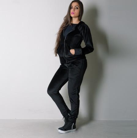 conjunto plush feminino blusa c/ capuz + calça frio inverno