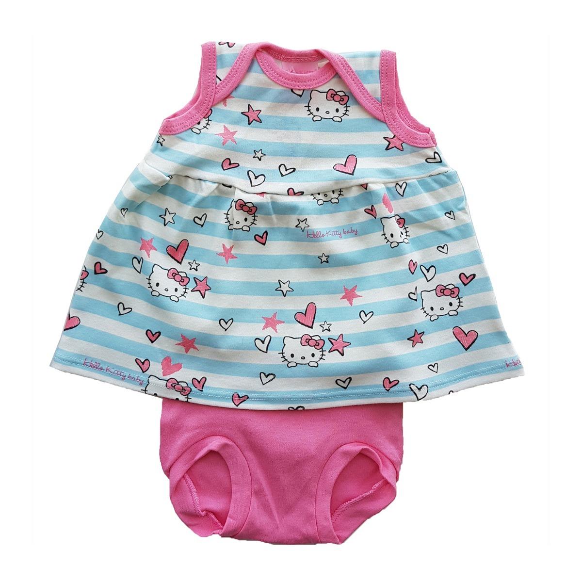 Conjunto Polera Y Cubre Pañal Bebé Celeste-rosa Hello Kitty ... a3ec3d1ca8e1