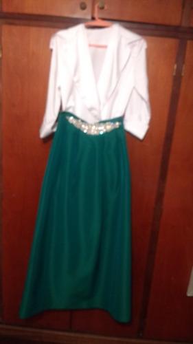 conjunto pollera y camisa seda alta costura