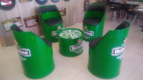 conjunto poltrona tambor + mesa de centro de brinde