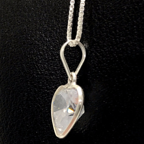 conjunto prata de lei 925 cordão pingente e brincos coração