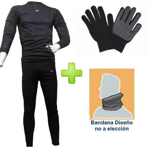 conjunto primera capa + guante + 2 bandana + calceta termica