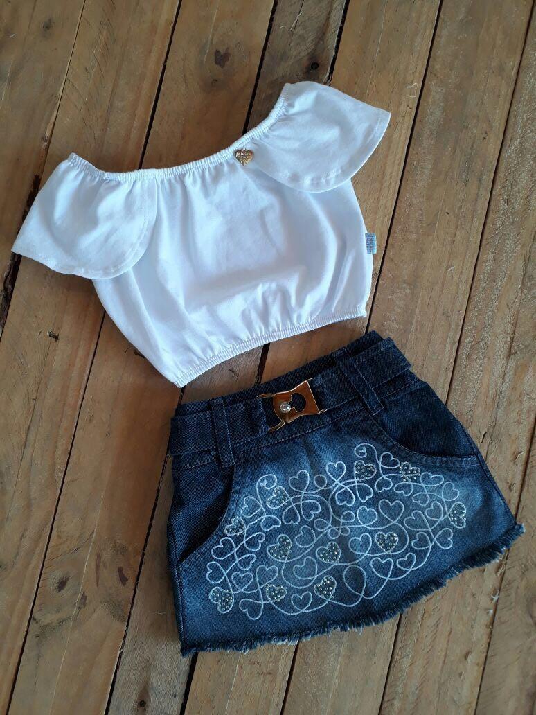 974a67bcf7 Conjunto Promoção Infantil Menina Saia Jeans E Blusa Branca - R  95 ...