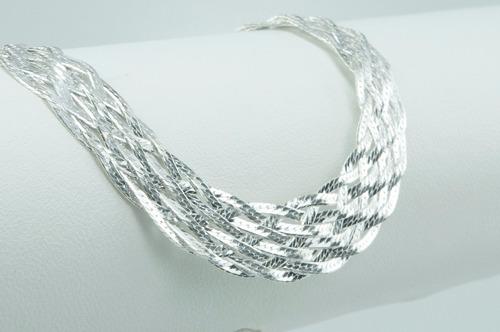 conjunto pulseira e corrente trançada de 8 fios de prata 925