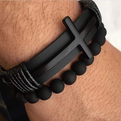conjunto pulseira masculina cruz couro legitimo