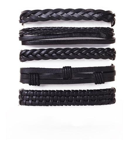 conjunto pulsera brazalete hombre moda cuero 5 en 1 negro