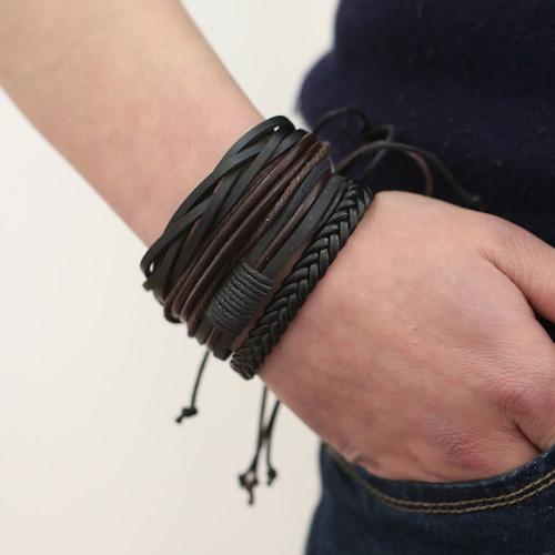 conjunto pulsera brazalete hombre moda soga cuero 4 en 1