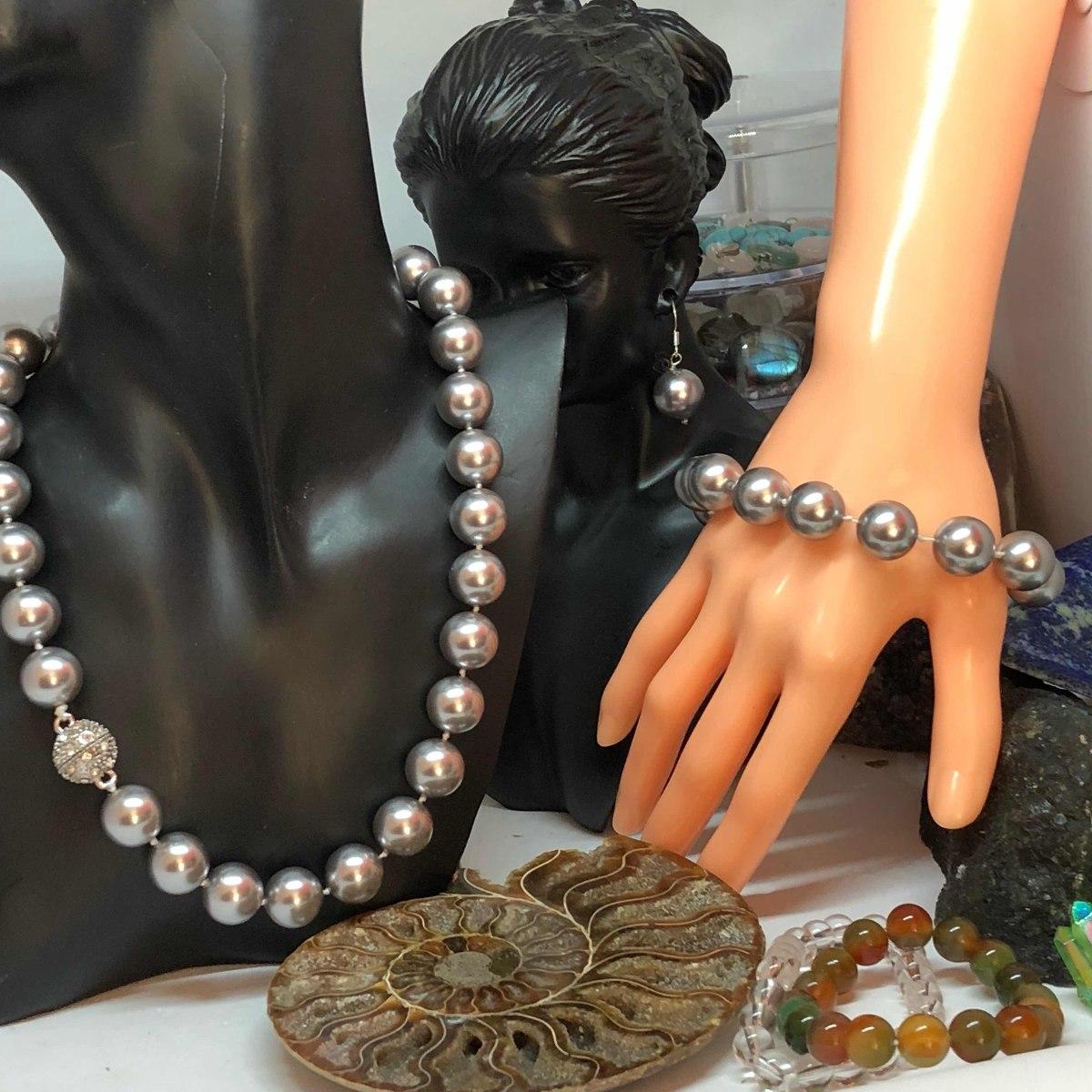 bcdcfbec5f54 Conjunto Pulsera Collar Aros De Perlas De Concha. Orgánicos ...