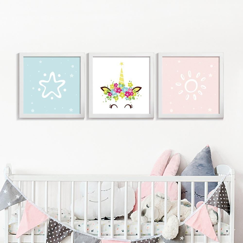 c71ab80bd conjunto quadro + moldura quarto infantil unicórnio estrela. Carregando zoom .