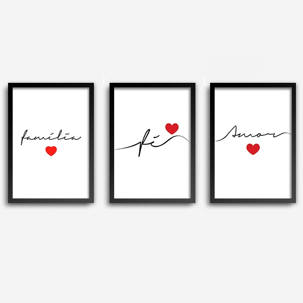 09c5c11e3 Conjunto Quadros Decorativos Fé Amor Família Com Vidro A4 - R  69