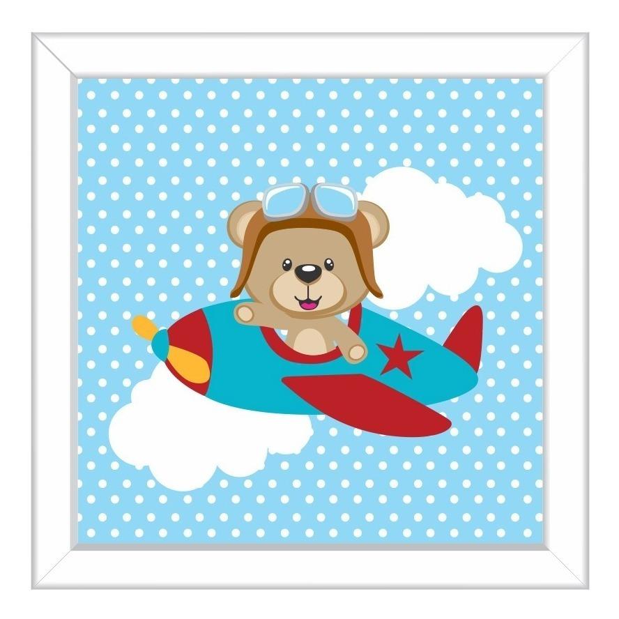 Conjunto Quadros Infantis Quarto Menino Ursinho Aviador Azul R