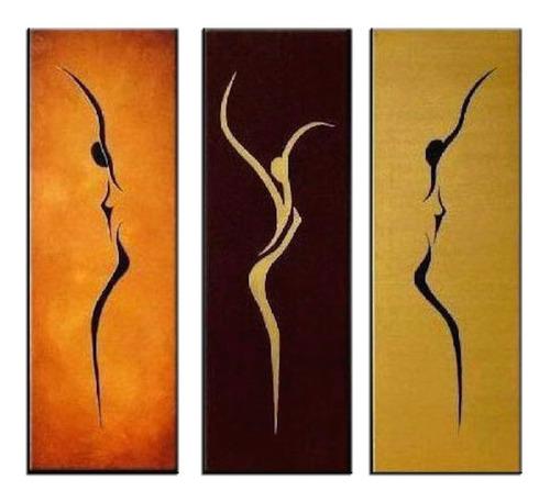conjunto quadros pintura tela abstrato figurativo