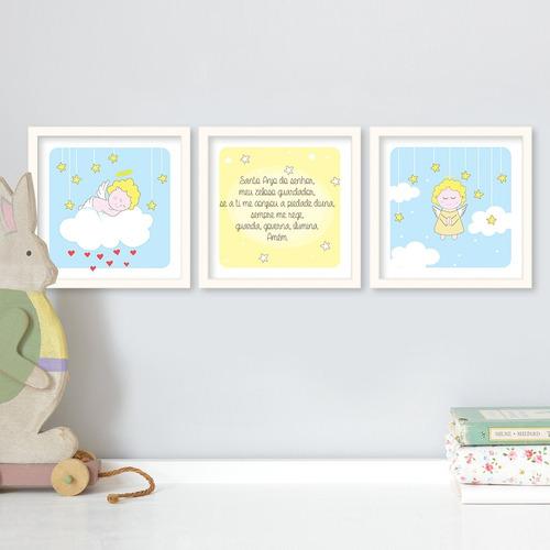 conjunto  quadros quarto infantil anjinhos oração santo anjo