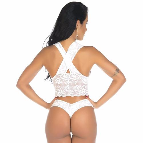 64dfa1809 Conjunto Renda Sensual Pimenta Sexy Branco - 4395 - R  64