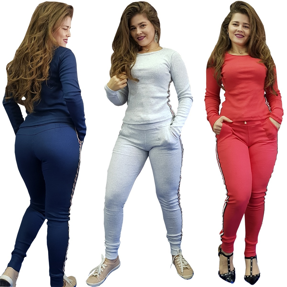 f0bbc6b2a6 conjunto ribana tipo moletom listras calça e blusa promoção. Carregando zoom .