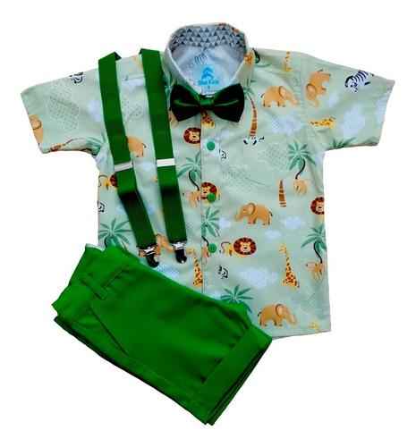 conjunto roupa de festa aniversário infantil menino camisa social manga curta safari bermuda social gravata suspensório