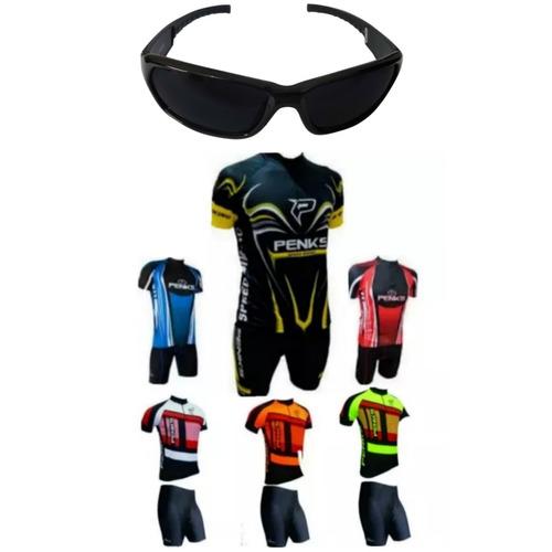 conjunto roupas + óculos  ciclismo camisa bermuda penks bike