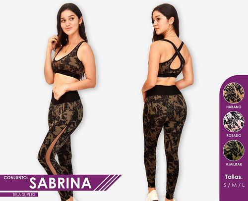 conjunto sabrina top+legging suplex para gimnasio