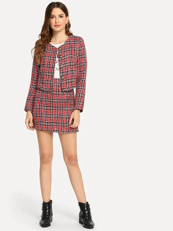 7830d5bf2 Conjunto Saco Y Falda Rojo Cuadros Ropa Mujer - $ 929.00 en Mercado ...