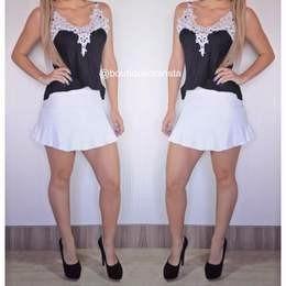 conjunto saia+ blusinha regata renda preto viscose guipir
