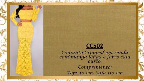 conjunto saia cropped renda manga longa decote quadrad cc502