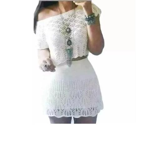 conjunto saia curta e croppd e trico crochê moda feminina
