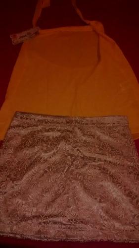 conjunto saia dourada e blusinha amarela. tamanho 42
