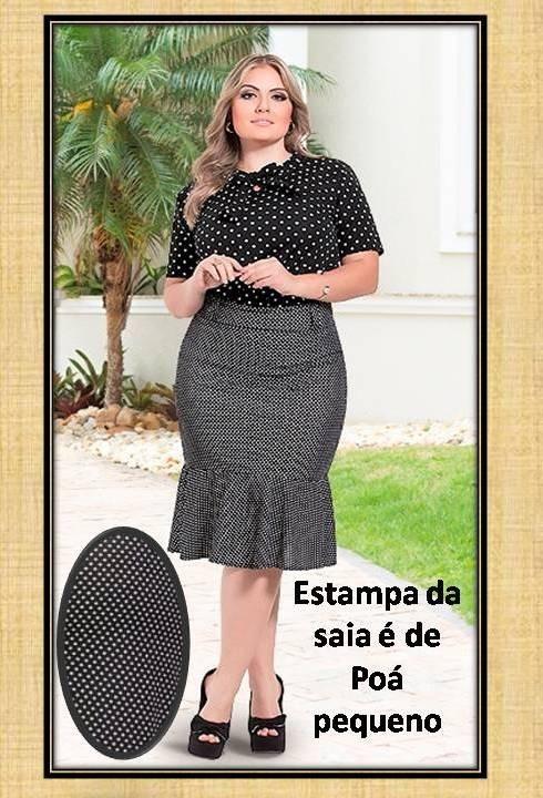 e5451e0ce8 Conjunto Saia E Blusa Moda Evangélica Plus Size 46