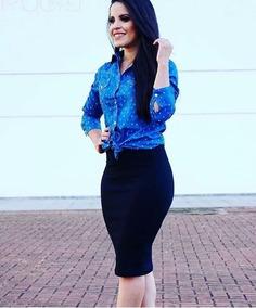 f2b6f0e6f530c Conjunto Saia Blusa Jean Feminina - Calçados, Roupas e Bolsas com o  Melhores Preços no Mercado Livre Brasil