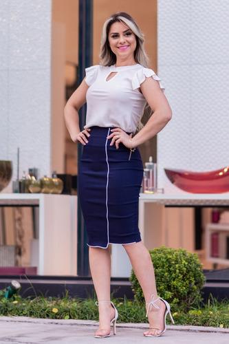 conjunto saia midi lapis blusa gota feminina moda evangélica