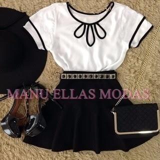 conjunto saia sino + blusa gota manguinha moda intagram