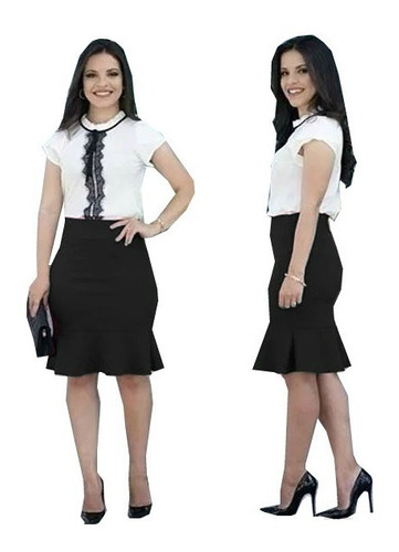conjunto saia sino midi peplum + blusa renda moda evangélica