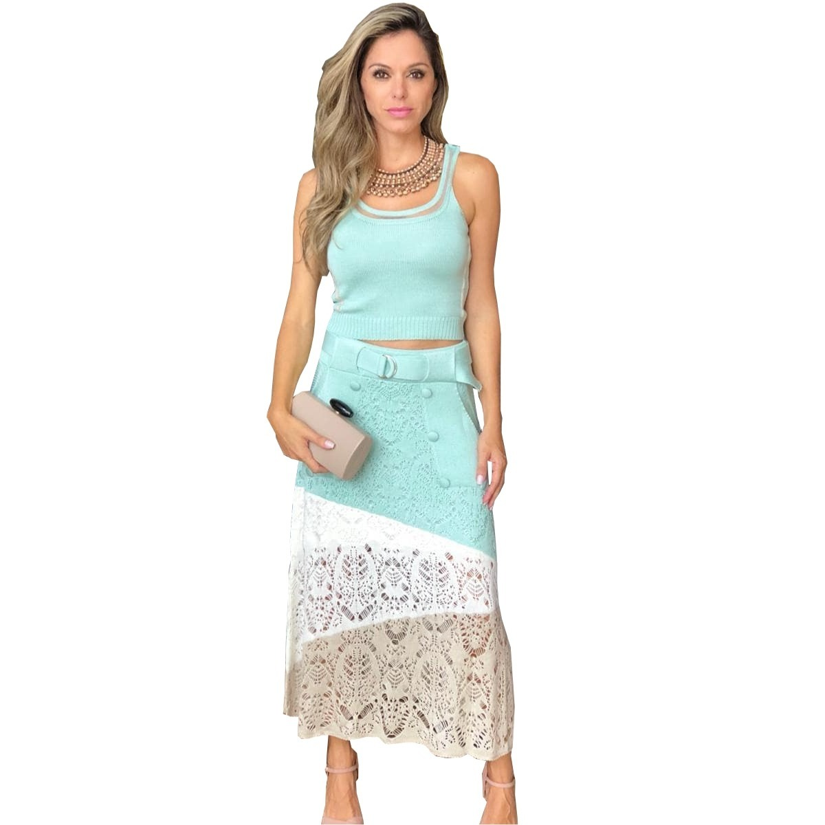 13193eae6f conjunto saias evangélicas feminina social e cropped tricot. Carregando zoom .