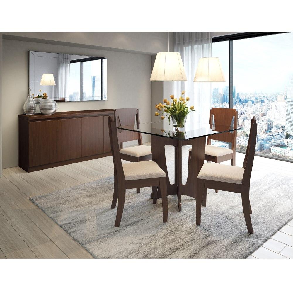Conjunto Sala De Jantar Com Mesa 4 Cadeiras E Buffet Franç R