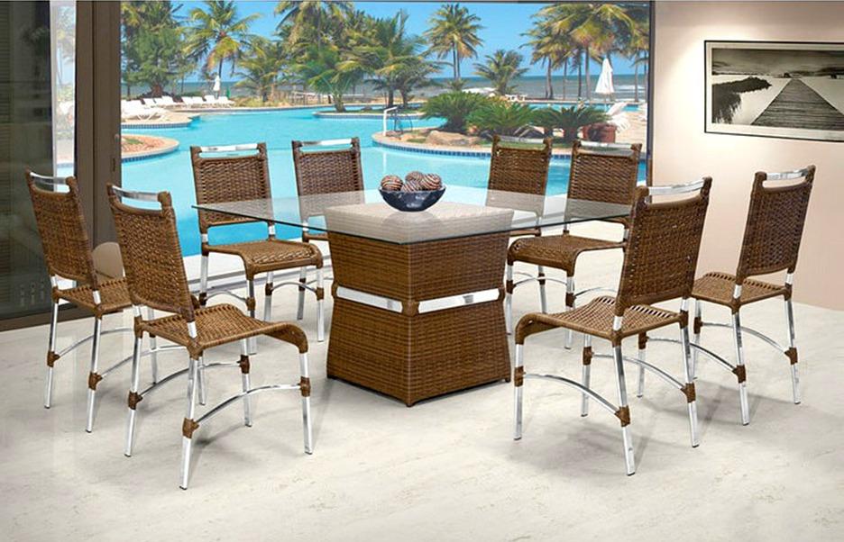 Conjunto sala de jantar completa mesa 8 cadeiras rattan r em mercado livre - Mesas de rattan ...