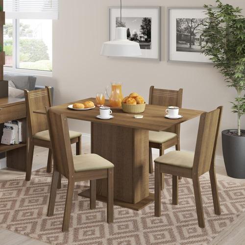 conjunto sala de jantar lexy madesa mesa com 4 cadeiras