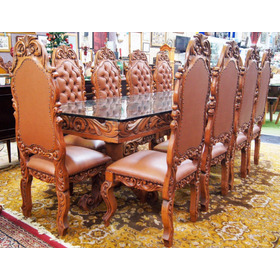 Conjunto Sala De Jantar Mesa 10 Cadeiras Colonial Capitonê