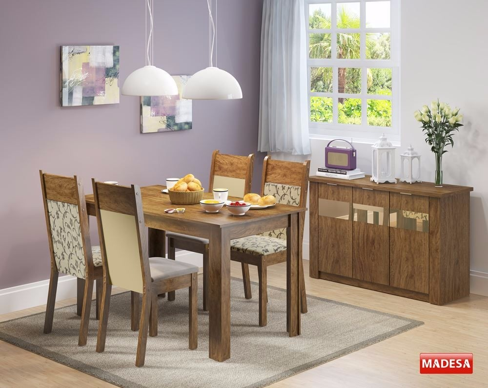 Conjunto Sala De Jantar Mesa 4 Cadeiras Buffet Havana Rustic R