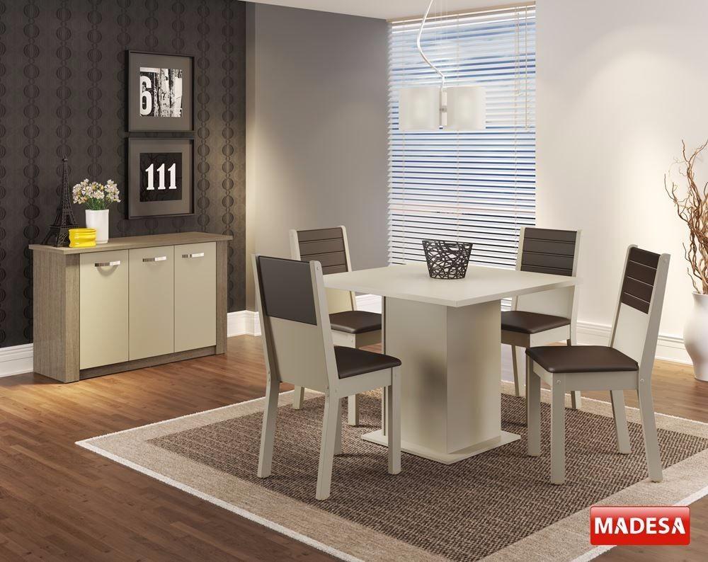 Conjunto Sala De Jantar Mesa 4 Cadeiras E Buffet Veja Crema R
