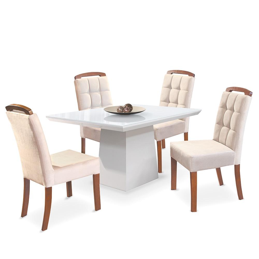 db410a856 Conjunto Sala De Jantar Mesa 4 Cadeiras Laca Branca Anis R -  Mesa De Vidro  4 Cadeiras Branca