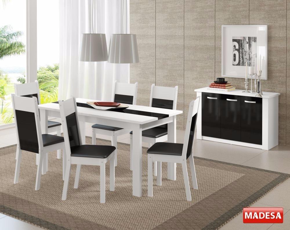 Conjunto Sala De Jantar Mesa 6 Cadeiras Buffet Veneza Branco R