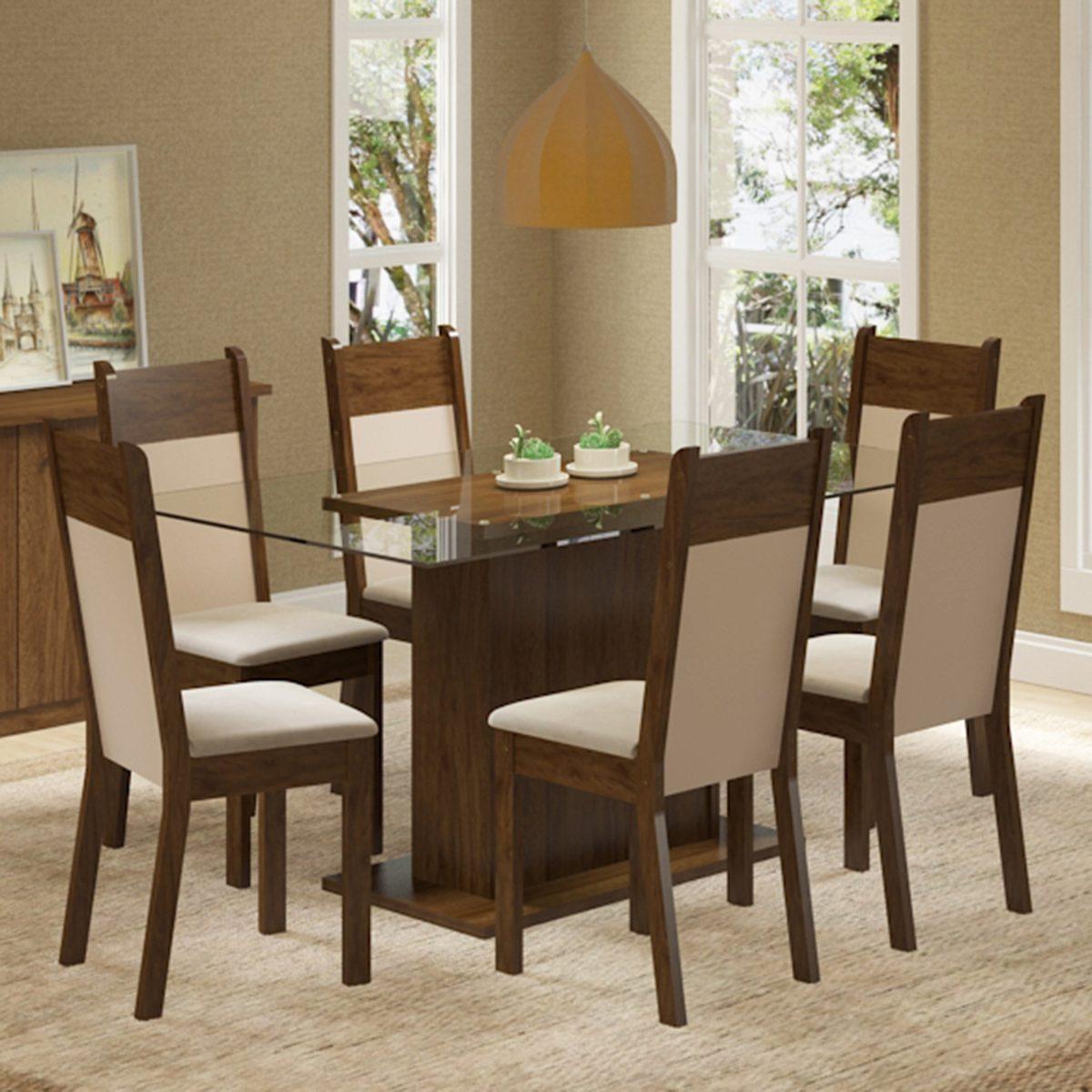 Conjunto Sala De Jantar Mesa E 6 Cadeiras Atlanta Madesa R 739 90  -> Sala De Jantar Atlanta