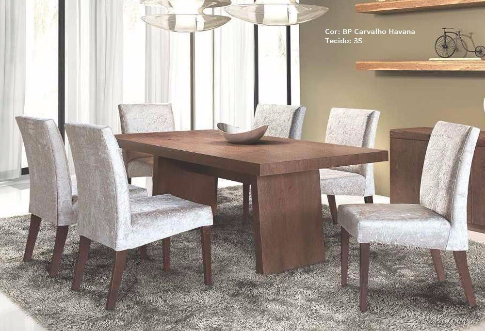 Conjunto Sala De Jantar Mesa E 6 Cadeiras Havana Rafana R 2298